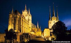 Erfurt Mariendom und Severikirche am Abend